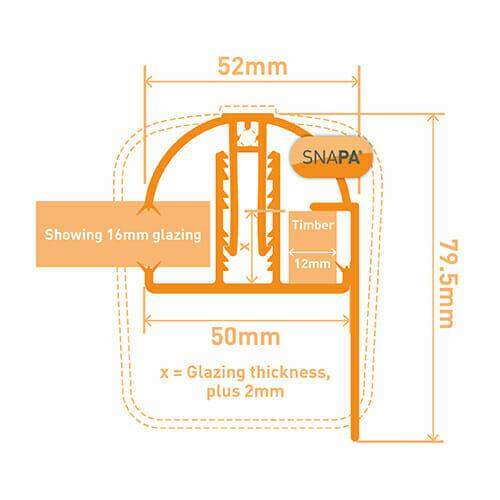 Snapa Gable Bar 10, 16, 25, 32, & 35mm.Inc.Endcp 2m White